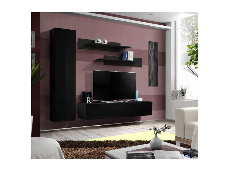 Ensemble meuble tv mural - fly i - 210 cm x 190 cm x 40 cm - noir