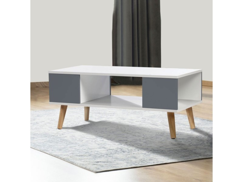 Table basse effie scandinave bois blanc et gris