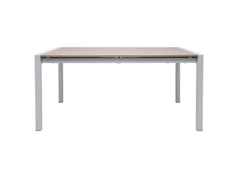 Table a manger seule texas table a manger extensible de 6 a 10 personnes - décor chene - pieds métal blanc - l 160/200/240 x l 90 x h 76 cm