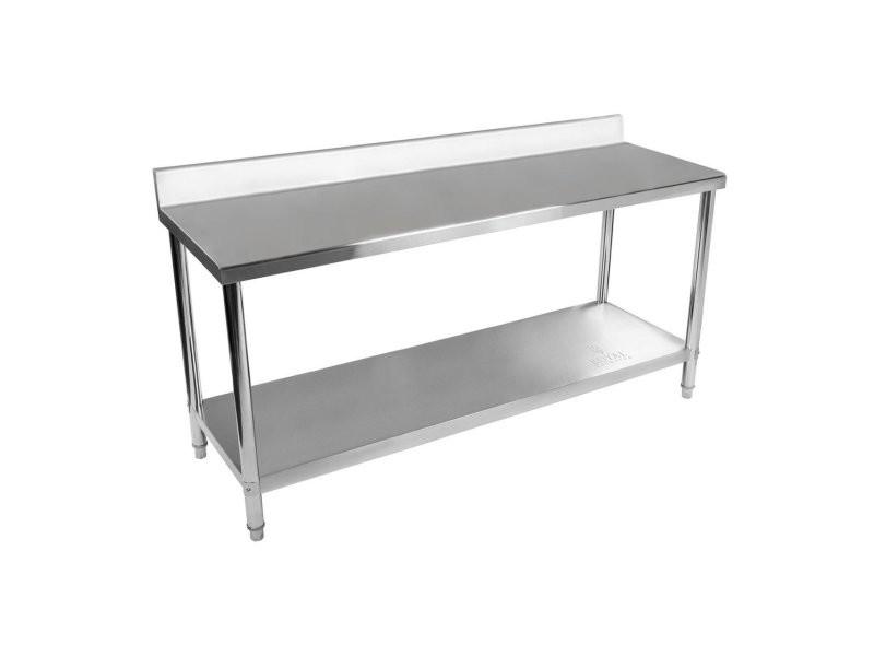 Table de travail cuisine professionnelle acier inox 200 x 60 cm avec dosseret helloshop26 14_0003660