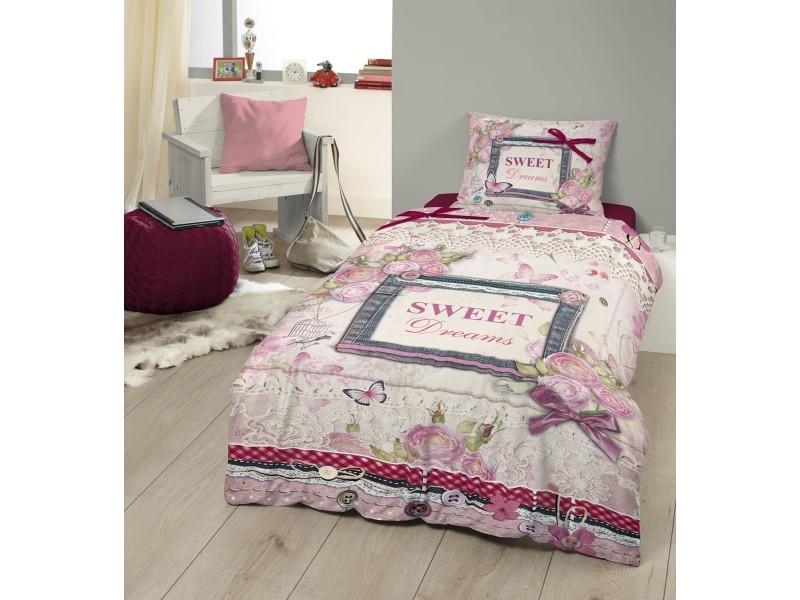 parure de lit coton sweet dreams 140x200 cm conforama. Black Bedroom Furniture Sets. Home Design Ideas