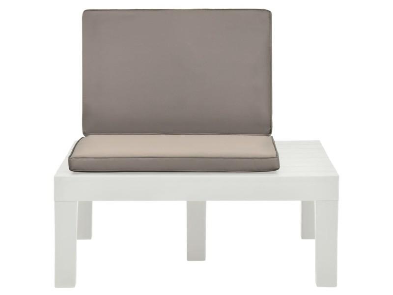 Vidaxl chaise de salon de jardin avec coussin plastique blanc 48825