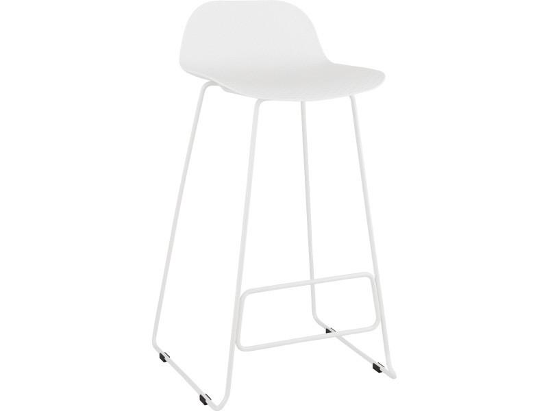 Tabouret de bar en plastique blanc/blanc - 50,5 x 53 x 95 cm - usage professionnel -pegane