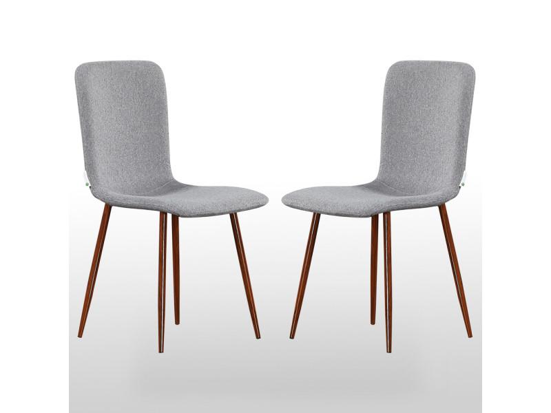 Lot de 2 chaises design en tissu grises