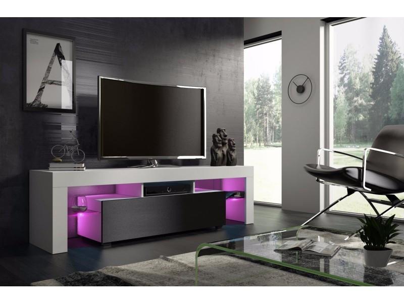 Meuble tv 160 cm blanc et noir mat avec led rgb