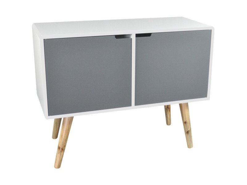 Meuble de salon support télé pieds bambou 2 portes rangement style ...