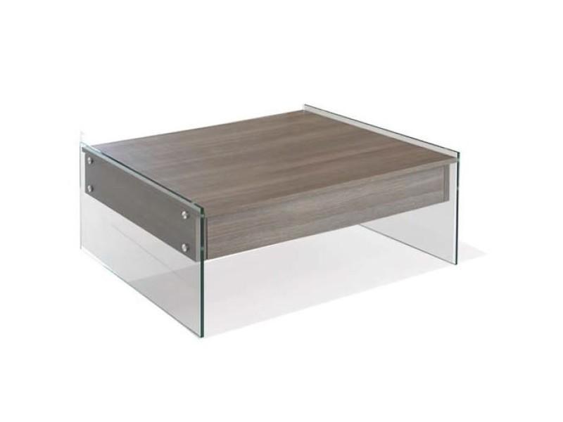 Table basse relevable bella 80x80cm coloris noyer piétement en verre 20100855523