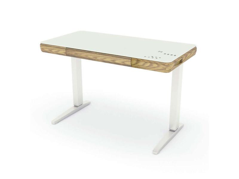 Bureau connecté réglable en hauteur blanc laqué et bois naturel