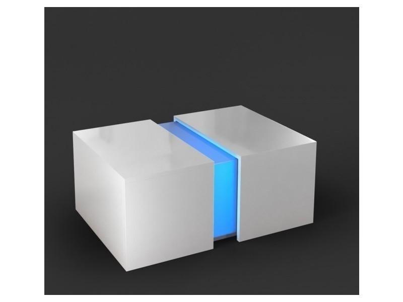 Table basse blanc brillant avec led