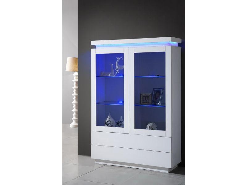 vitrine laqu e blanche 2 portes avec clairage led vente de comforium conforama. Black Bedroom Furniture Sets. Home Design Ideas