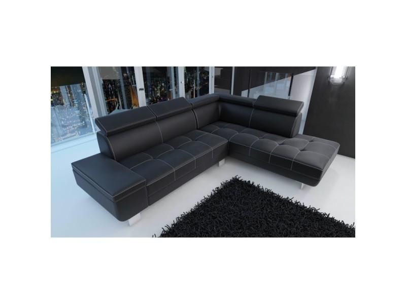 canap d 39 angle moderne daylon simili cuir noir angle droit. Black Bedroom Furniture Sets. Home Design Ideas