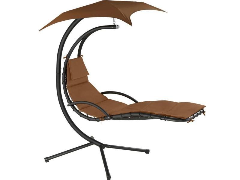 Transat bain de soleil meuble jardin suspendu marron helloshop26 2208112