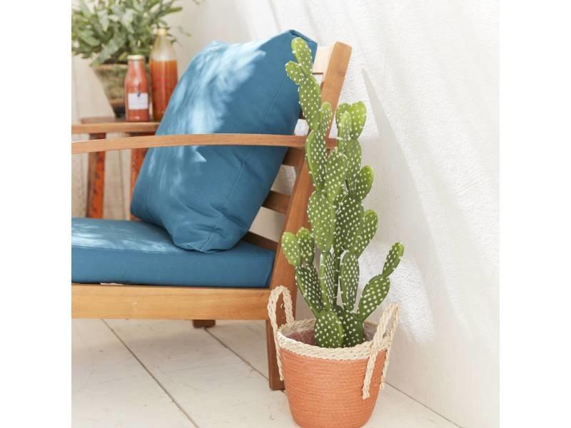 Salon de jardin en bois 4 places - ushuaïa - coussins bleu canard ...