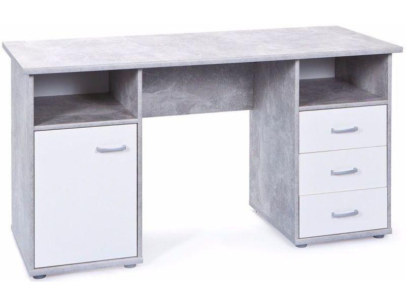 Bureau moderne cm avec porte et tiroirs coloris blanc et