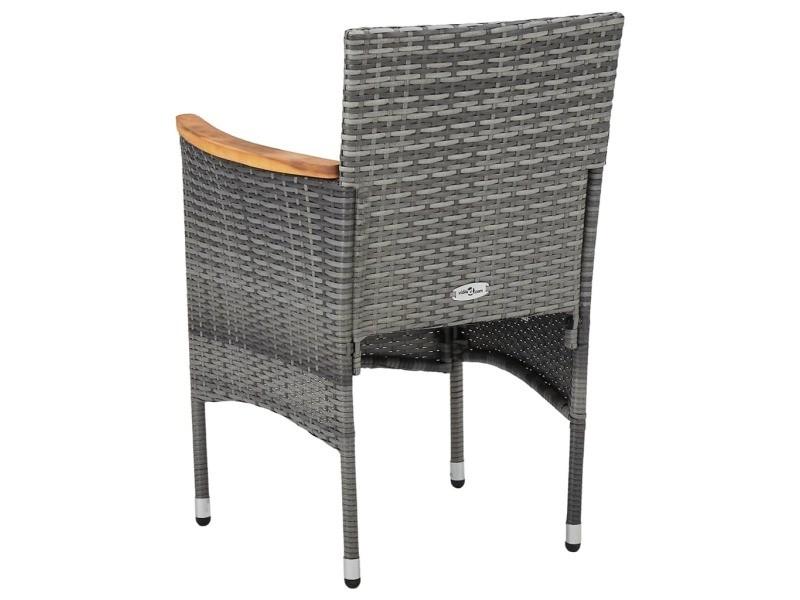 Vidaxl chaises de salle à manger de jardin 2 pcs résine tressée gris 46182