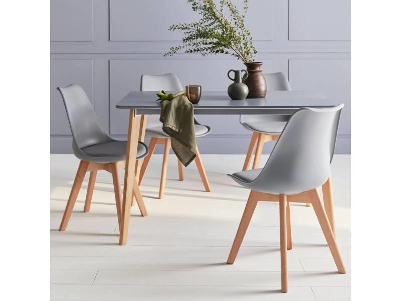 Table à manger rectangulaire bois 120cm gris - hedvig - 4 chaises. 4 places. Scandinave. Pieds bois
