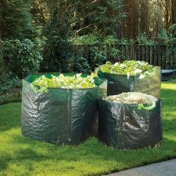 Set de 3 sacs de jardin carrés grande capacité, avec poignées