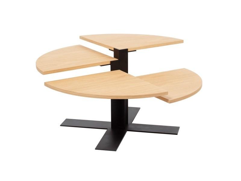 Table basse ronde design bois et métal