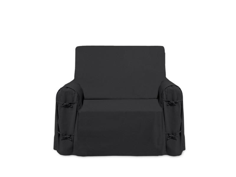 Housse de fauteuil panama anthracite 100% coton