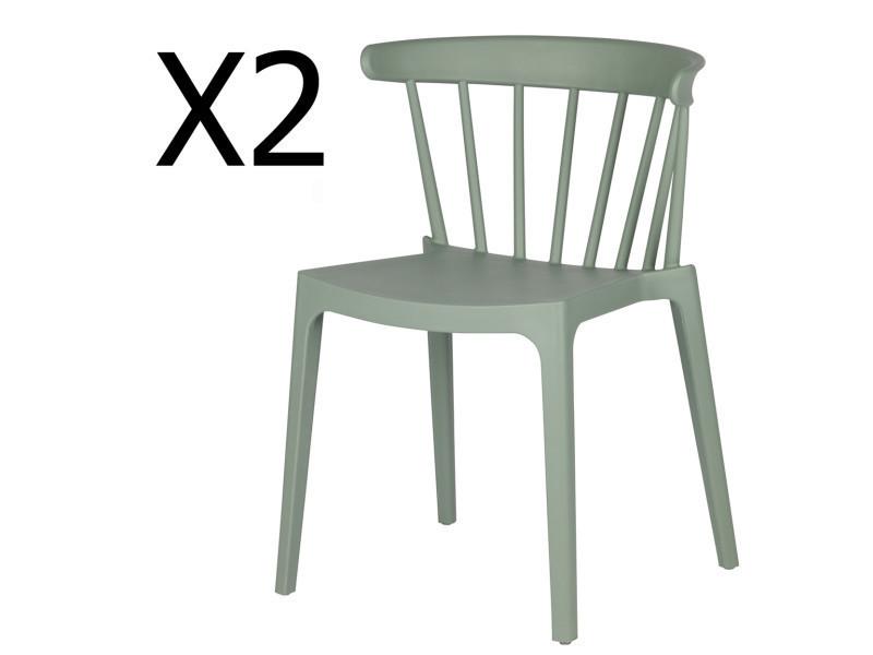 Lot de 2 chaises de jardin en plastique coloris vert jade - dim : h 75 x l 52 x p 53 cm - pegane -