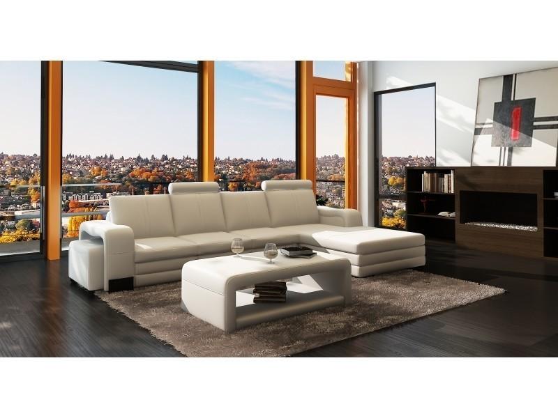 Canapé d'angle méridienne blanc design en cuir havane-