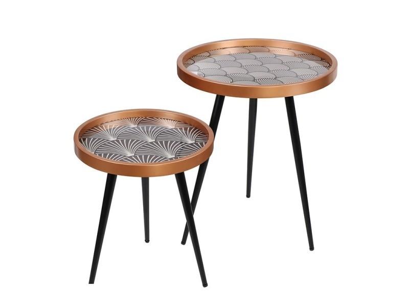 2 tables d'appoint design art déco - noir