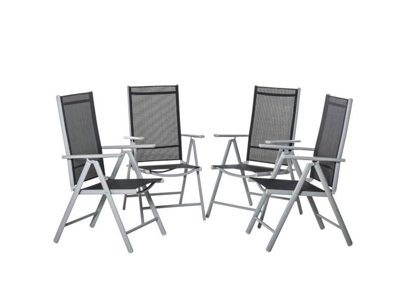 Lot de 4 chaises de jardin pliantes dossier haut inclinable multi-positions accoudoirs alu. Textilène noir