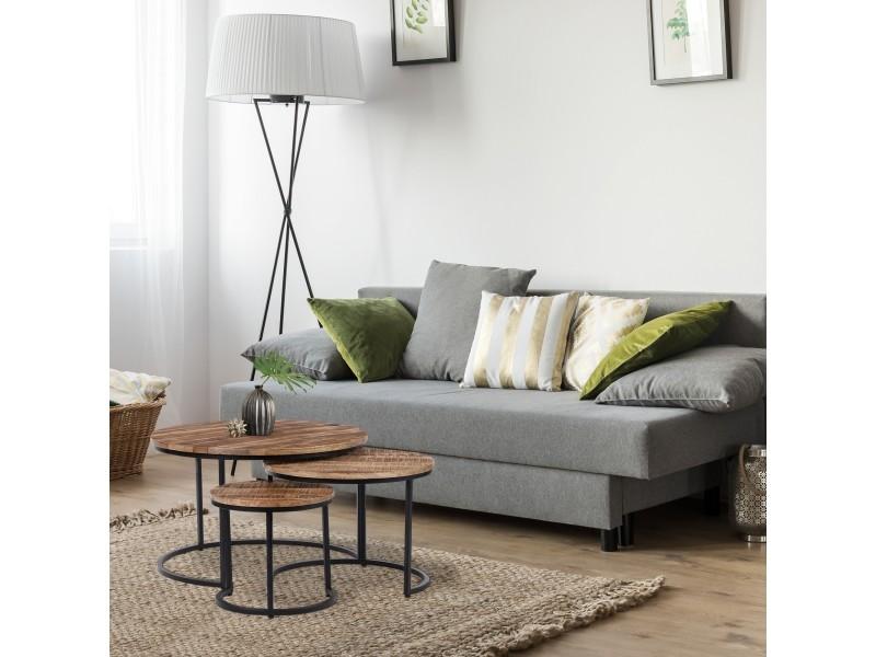 Womo-design set de 3 tables d'appoint naturel/noir, ø 67/50/35 cm, en bois de manguier massif et structure en métal thermolaqué 390003218