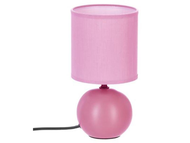 Lampe à poser en céramique finition rose mate - dim : d 13 x h 25 cm - pegane -