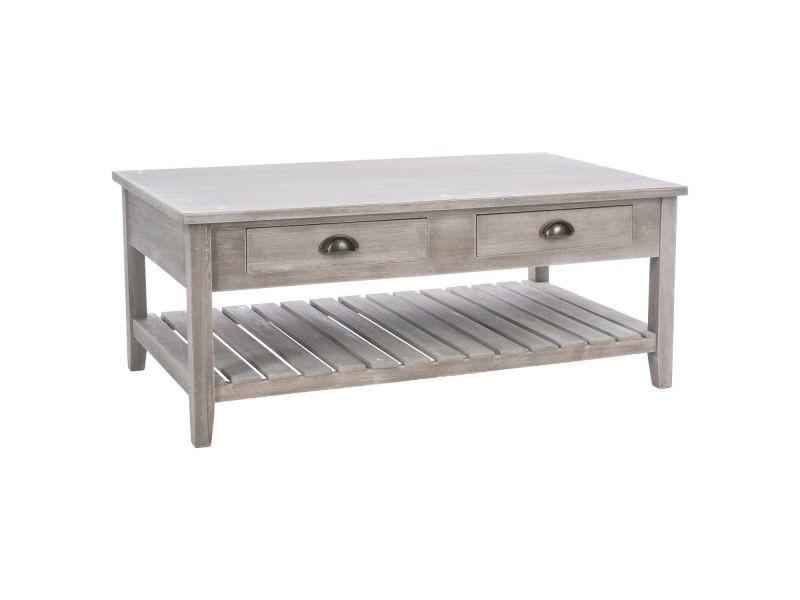 Table basse en bois campagne - l. 110 x h. 45 cm - gris marron