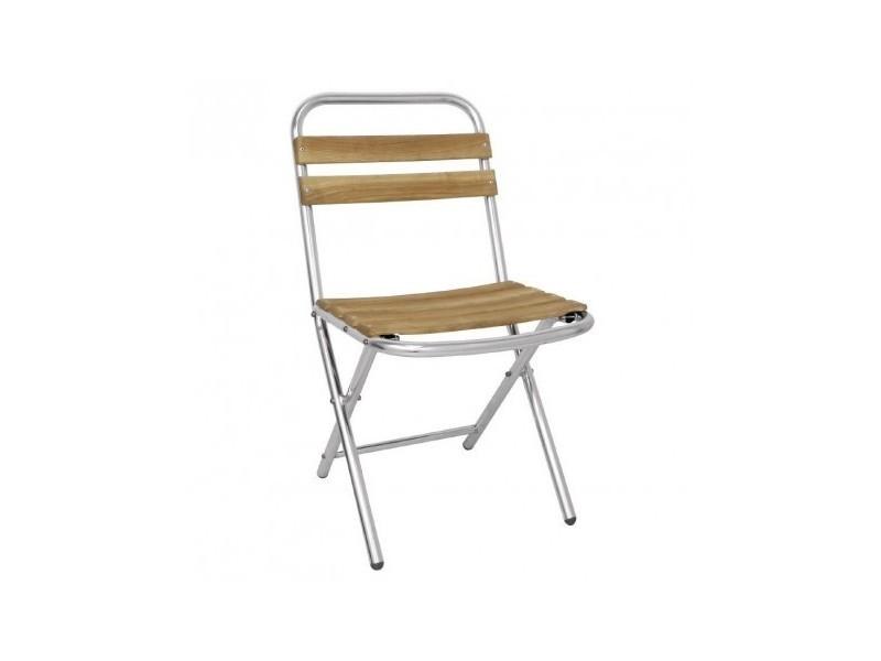 Chaise pliante en aluminium et bois bolero - lot de 4