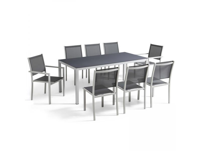 table de jardin en aluminium et verre 8 places vente de. Black Bedroom Furniture Sets. Home Design Ideas