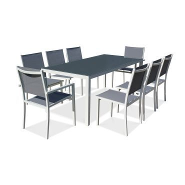 Table de jardin en aluminium et verre 8 places vente de ensemble table et chaise conforama - Ensemble chaise et table ...