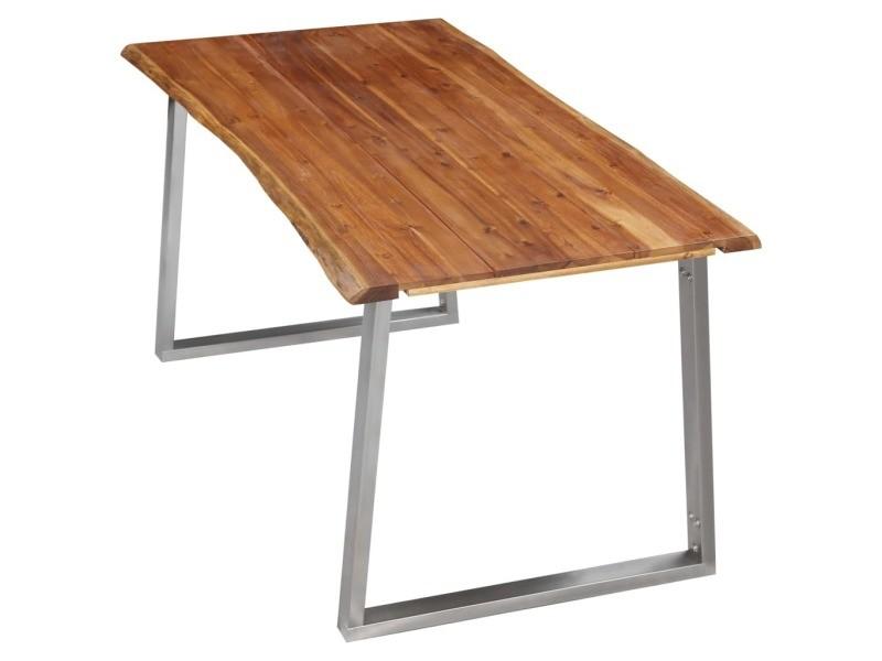 Vidaxl table à dîner 160x80x75 cm bois d'acacia et acier inoxydable 283891