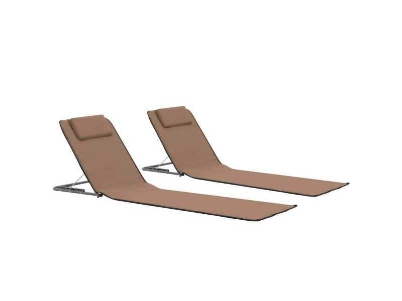 Joli sièges de jardin selection vatican tapis de plage pliables 2 pcs acier et tissu marron