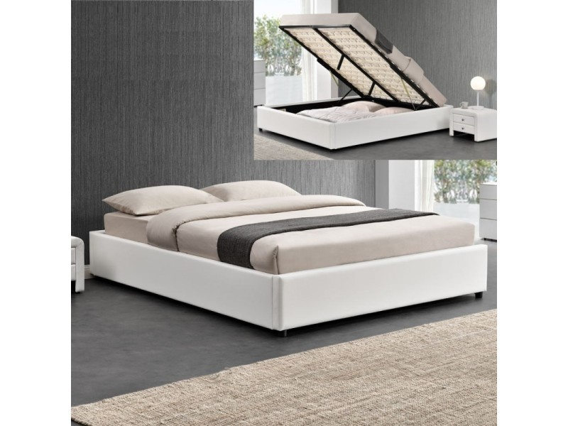 sommier coffre de rangement rooms blanc tailles 140x190 vente de meubler design conforama. Black Bedroom Furniture Sets. Home Design Ideas