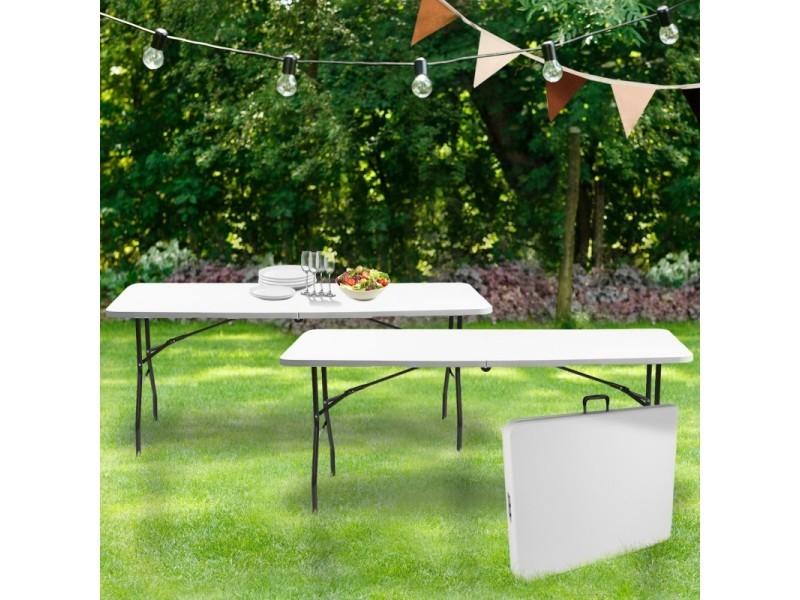 Lot de 2 tables pliantes portables pour camping ou réception 180 cm