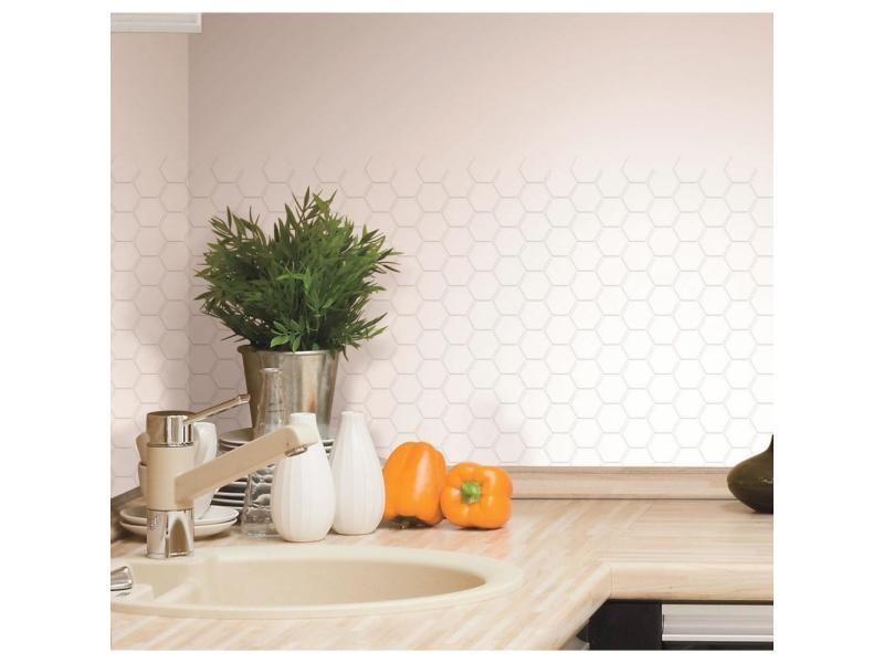 Stick tile - sticker - carrelage mural faïence adhésive motifs hexagones blancs - 4 plaques 26x26cm